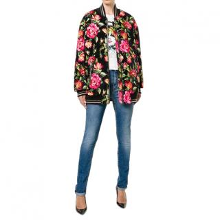 Dolce & Gabbana Floral Velvet Bomber Jacket