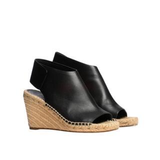 Celine Black Leather Wedge Espadrilles