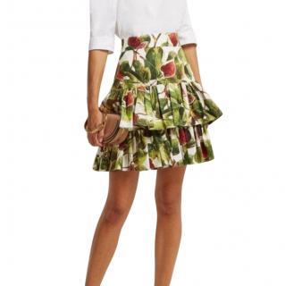 Dolce & Gabbana Fig Print Tiered Skirt