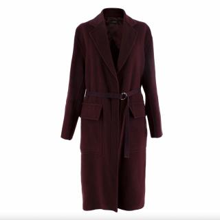 Joseph Silla Burgundy Wool Belted Coat