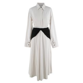 Victoria Beckham White Contrasting Waist Detail Long Dress