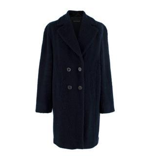 Luisa Cerano Navy Wool Double Breasted Teddy Coat
