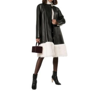 Loewe Black Leather Shearling Trim Runway Coat