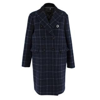 Sacai Navy Wool Double Breasted Check Coat