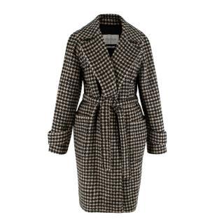 MaxMara Black & Beige Houndstooth Camelhair Coat