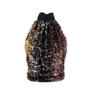 Harmur Silk Sequin Halter Top