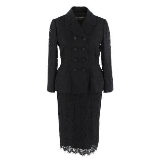 Dolce & Gabbana Black Lace Silk Blend Blazer and Skirt Set