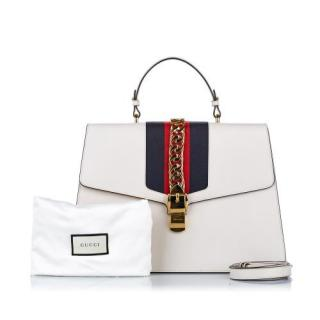 Gucci White Sylvie Leather Maxi Top Handle Bag