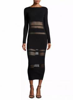 Self Portrait V-Back Sheer Panelled Midi Dress