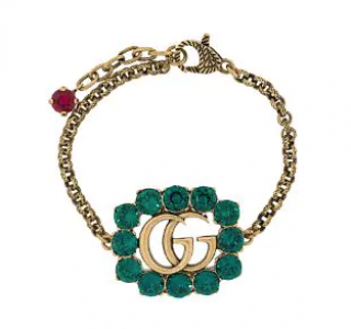 Gucci Gold-tone Green Crystal Double G Chain Bracelet