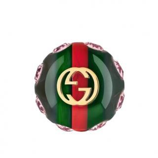 Gucci Crystal Sylvie Vintage Style Web Brooch