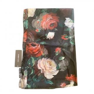Dolce & Gabbana Black Floral Print Silk Wrap Scarf