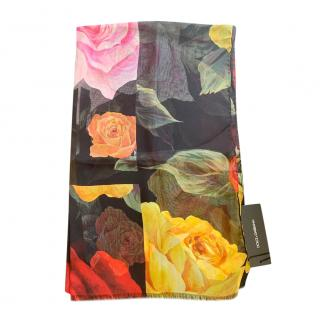 Dolce & Gabbana Floral Print Silk Wrap Scarf