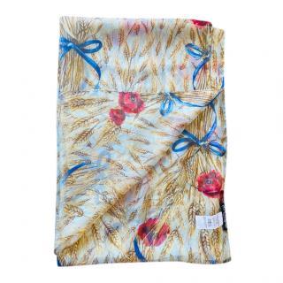 Dolce & Gabbana Floral Wheat Print Blue Wrap Scarf