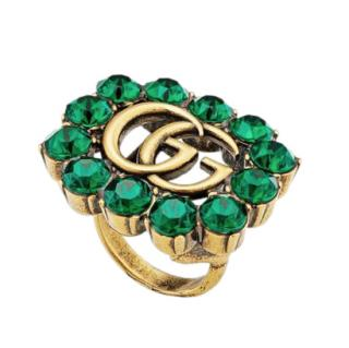 Gucci Gold-tone Green Crystal Double G Ring