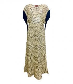 Missoni Mare Gold Metallic Knit V-Neck Dress