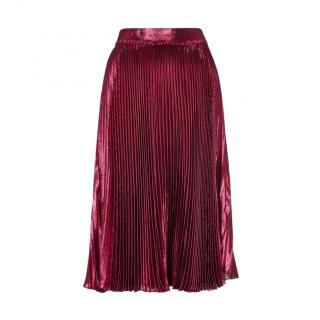 Gucci Metallic Raspberry Pink Pleated Midi Skirt