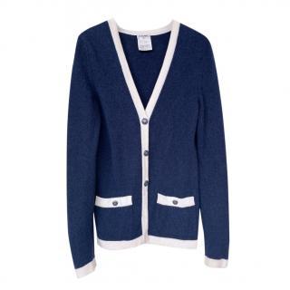 Chanel Blue/Ecru Cashmere Fine Knit Cardigan