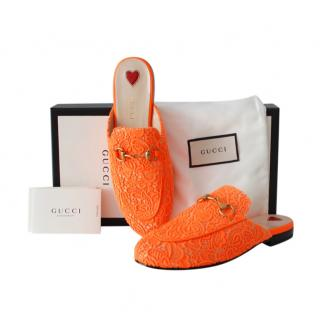 Gucci Orange Lace Princetown Slippers