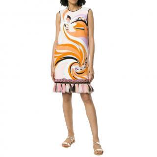 Emilio Pucci Orange Printed Terry Cotton Frilled Mini Dress
