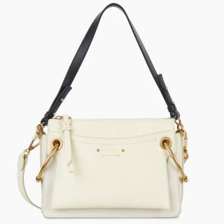 Chlo� White Roy Small Leather & Suede Shoulder Bag