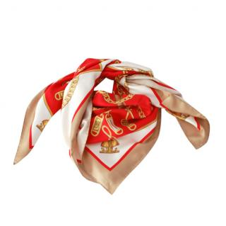 Burberry printed silk red & beige 90cm scarf