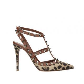 VALENTINO GARAVANI Rockstud 100 leopard-print leather heeled sandals