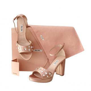 Miu Miu Crystal Embellished Pink Satin Block Heel Sandals