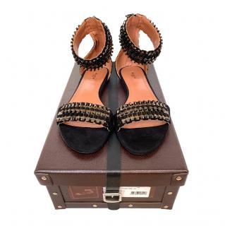 Alaia Black Embellished Suede Ankle Strap Sandals