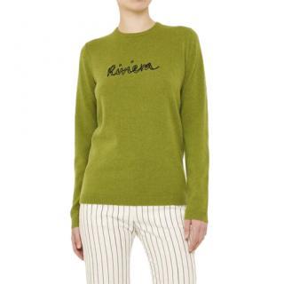 Bella Freud Green Riviera Intarsia Knit Jumper