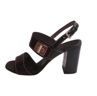 Prada Black Leather Block Heel Sandals