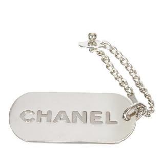 Chanel Silver Tone Logo  Key Chain