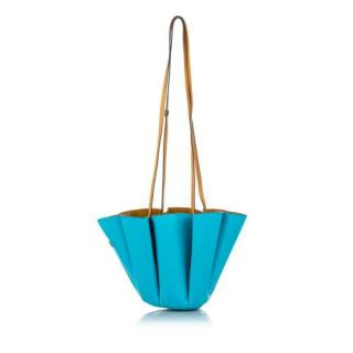 Lanvin Turquoise and Tan Margeurite Leather Bucket Bag