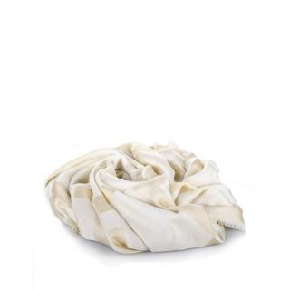 Givenchy cream wool/silk blend 140x140cms Logo Scarf/Shawl