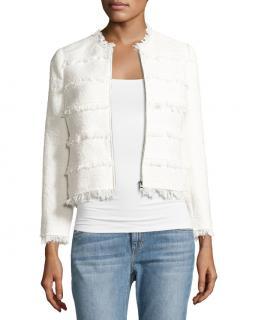 Rebecca Taylor White Tweed Fringed Jacket