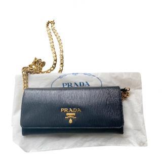 Prada Black Saffiano Leather Chain Wallet