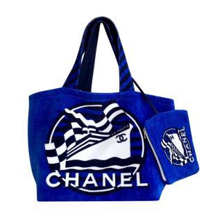 Chanel reversible cotton terry beach bag