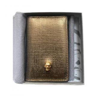Alexander McQueen Gold Textured Bi-Fold Wallet