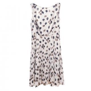 Prada White Floral Print Semi-Pleated Skirt