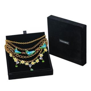Dolce & Gabbana Crystal Embellished Gold-Tone Chain Draped Necklace
