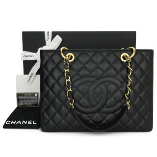 Chanel Black Caviar Leather Quilted Grand Shopping Tote