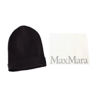 Max Mara Navy Cashmere & Wool Ribbed Beanie
