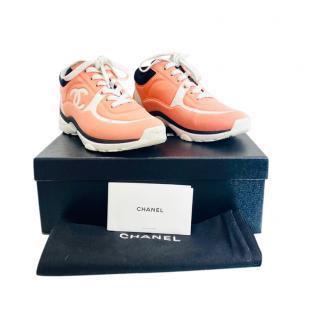 Chanel Peach/White CC Trainers