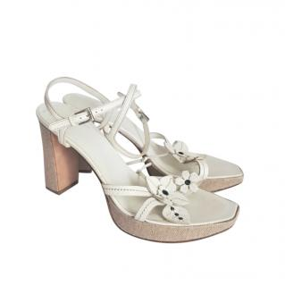 Prada Floral Applique Strappy Chunky Sandals