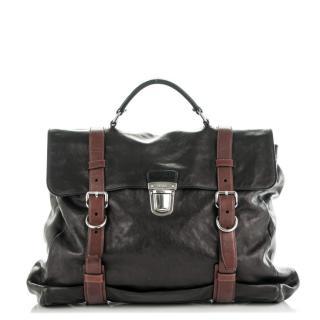 Prada Black Glace Leather Folding Soft Briefcase