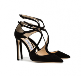 Jimmy Choo black Lancer suede pointed toe leather strappy pumps