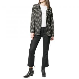 Saint Laurent Star Print Black Hooded Rain Jacket