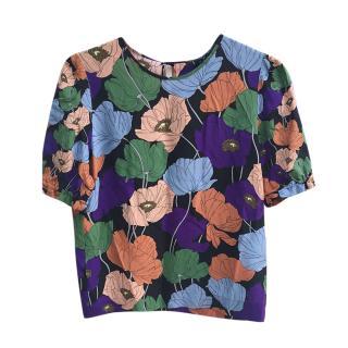 No.21 Floral Print Silk Top