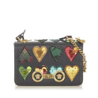 Versace Leather Heart Embellished Shoulder Bag