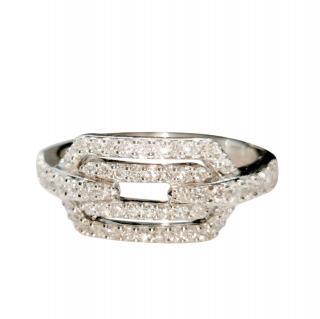 William & Son 18ct White Gold Diamond Buckle Ring